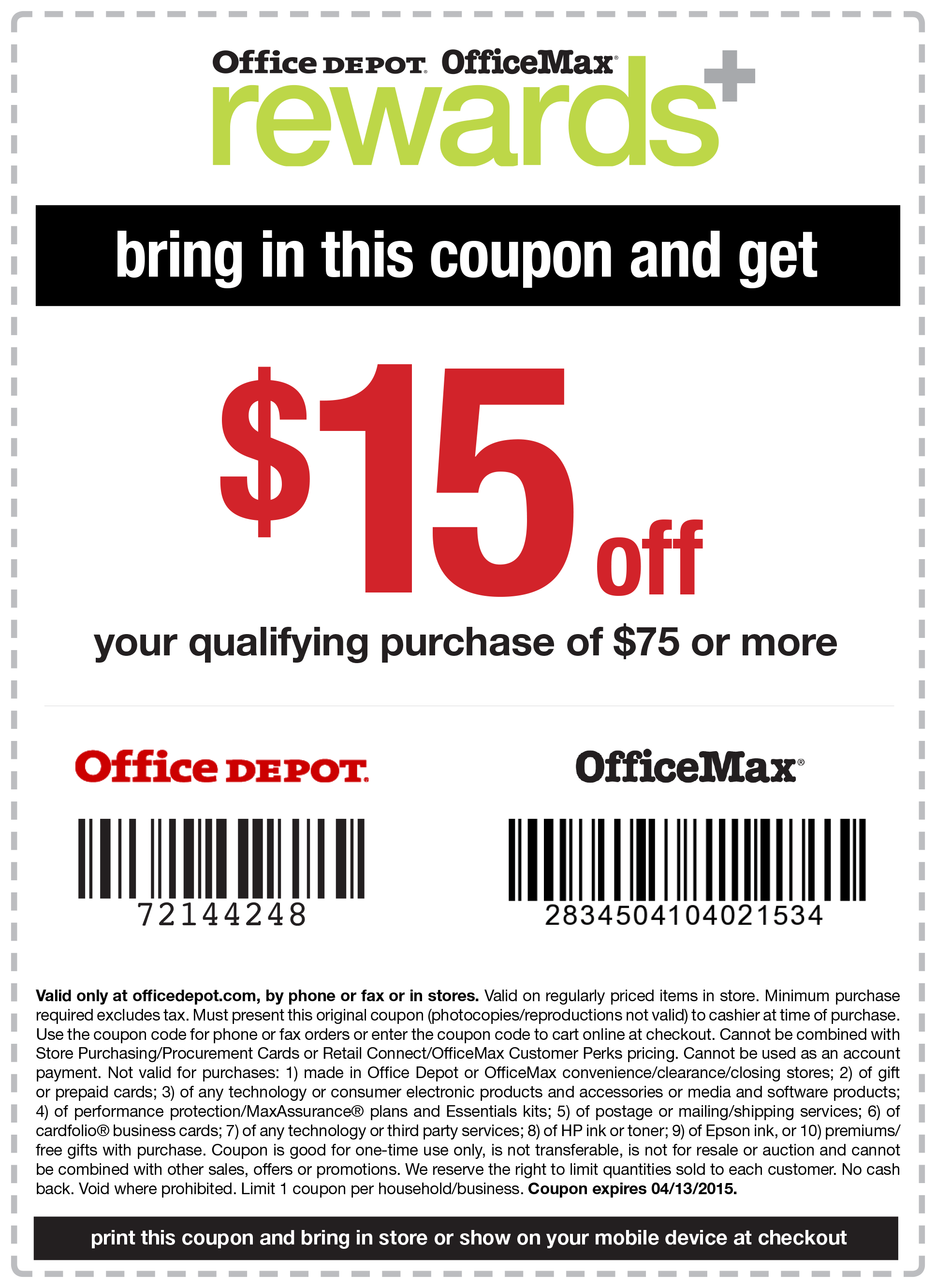 Office Depot Coupon March 2018 $15 off $75 at Office Depot & OfficeMax, or online via promo code 72144248