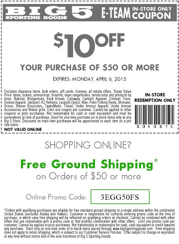 Big 5 Coupon April 2019 $10 off $50 at Big 5 sporting goods