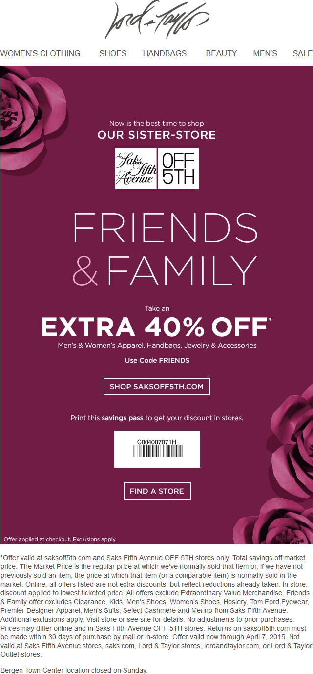 OFF 5TH Coupon November 2017 Extra 40% off at Saks OFF 5TH, or online via promo code FRIENDS