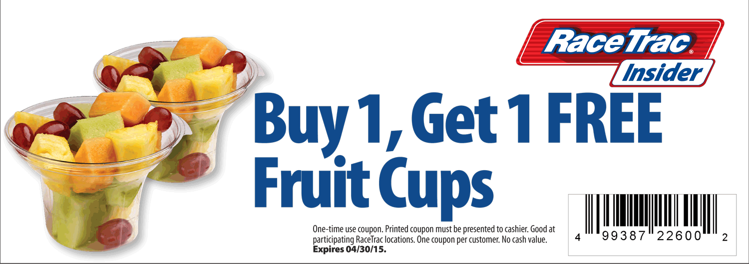 RaceTrac Coupon April 2017 Second fruit cup free at RaceTrac gas stations