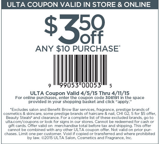 Ulta Coupon February 2017 $3 off $10 at Ulta beauty, or online via promo code 308191