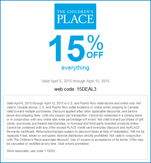 Childrens Place Coupon February 2018 15% off everything at The Childrens Place, or online via promo code 15DEAL3