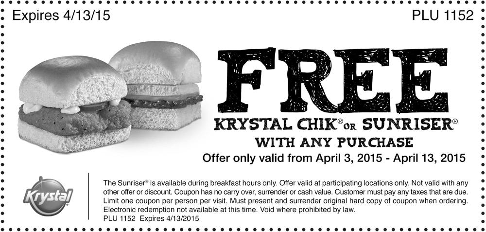 Krystal Coupon March 2019 Free chik or sunriser with your order at Krystal restaurants