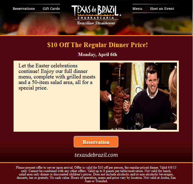 Texas de Brazil Coupon April 2018 $10 off dinner tonight at Texas de Brazil steakhouse