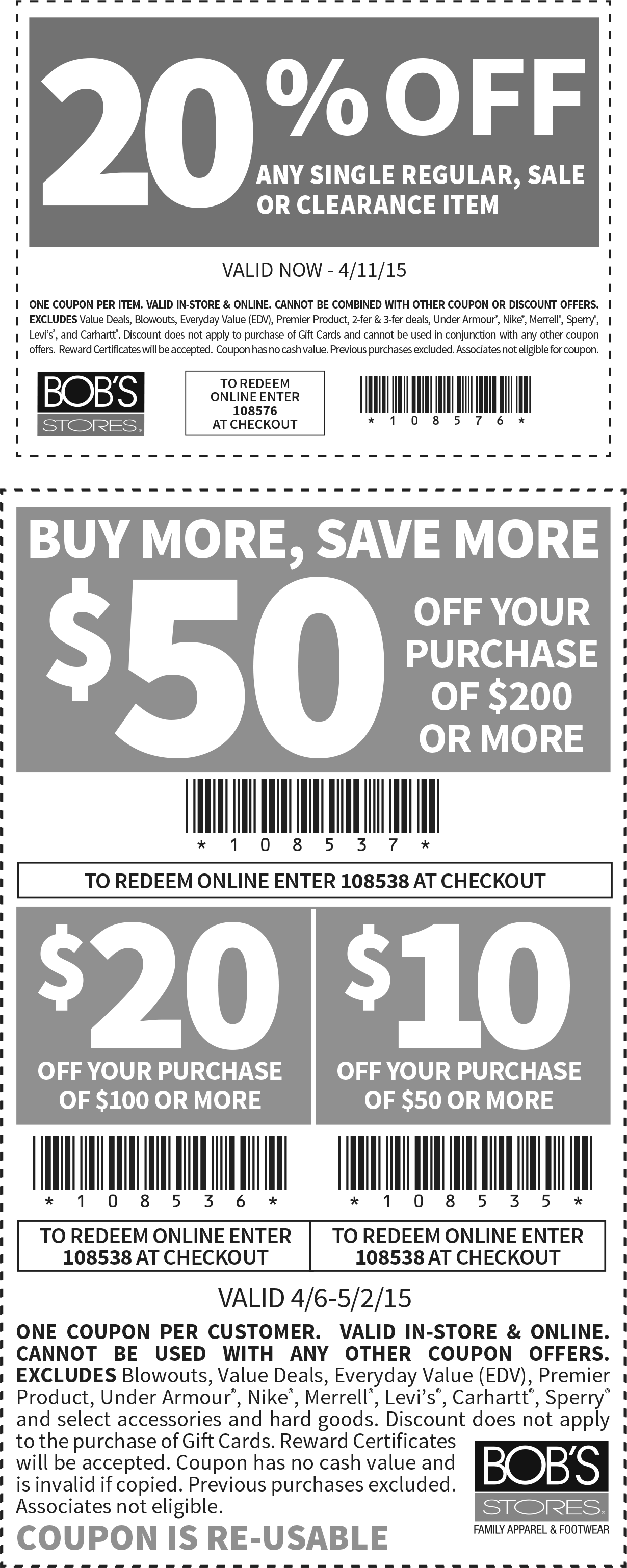 Bobs Stores Coupon January 2017 20% off a single item at Bobs Stores, or online via promo code 108576