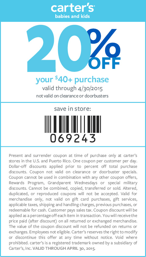 Carters Coupon June 2017 20% off $40 at Carters, or online via promo code APRCART