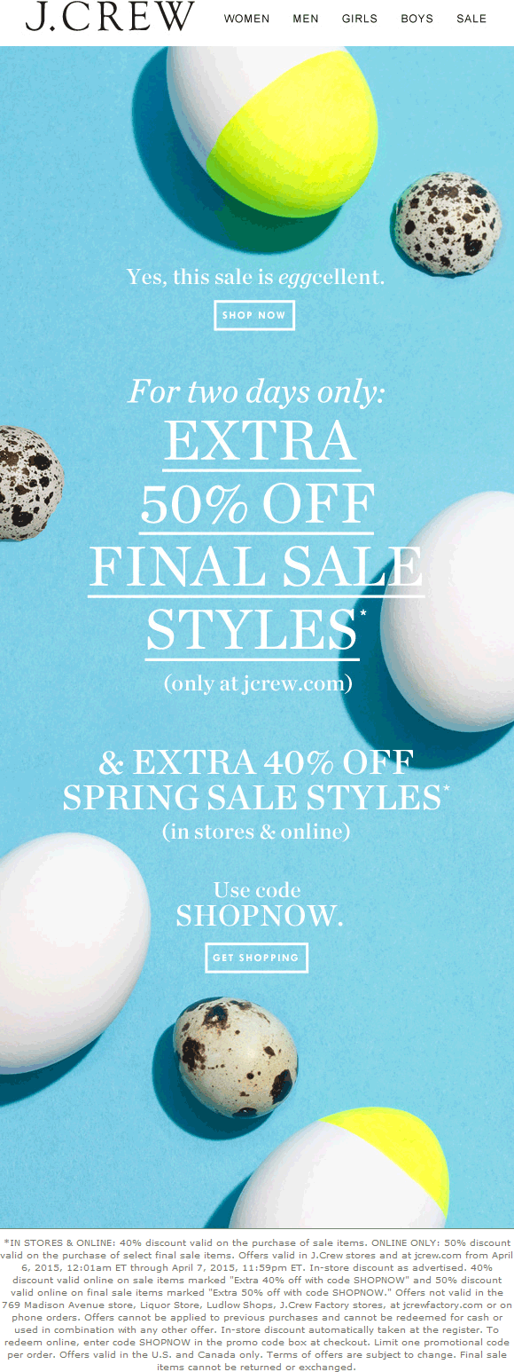 J.Crew Coupon December 2016 Extra 40% off sale items today at J.Crew, or 40-50% off online via promo code SHOPNOW