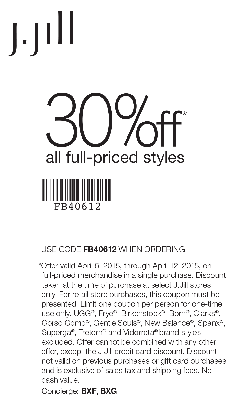 J.Jill Coupon May 2018 30% off at J.Jill, or online via promo code FB40612