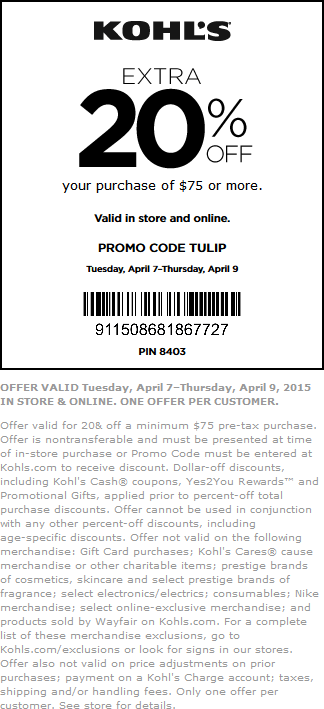 Kohls Coupon January 2018 Extra 20% off $75 at Kohls, or online via promo code TULIP