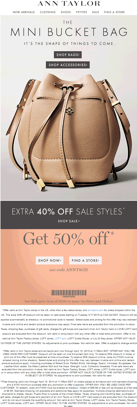 Ann Taylor Coupon February 2017 50% off $100 & more at Ann Taylor, or online via promo code ANNT4GH