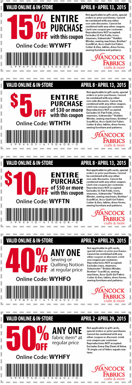 Hancock Fabrics Coupon October 2016 15% off & more at Hancock Fabrics, or online via promo code WYWFT