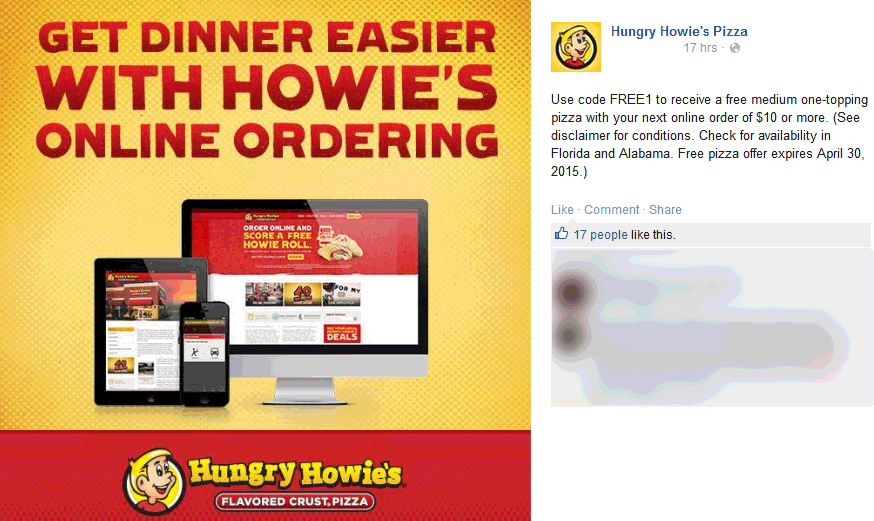 Hungry Howies Coupon March 2017 Followup medium pizza free at Hungry Howies via promo code FREE1