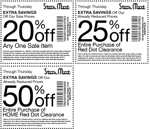 Stein Mart Coupon October 2016 20-50% off sale & clearance at Stein Mart, or online via promo code SHOPSALE