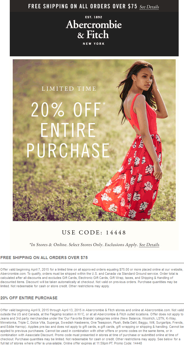 Abercrombie & Fitch Coupon October 2018 20% off everything at Abercrombie & Fitch, or online via promo code 14448