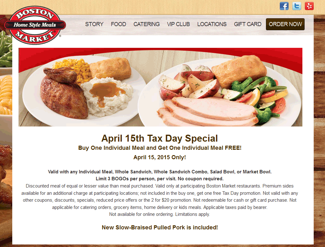 Boston Market Coupon October 2016 Second meal free the 15th at Boston Market