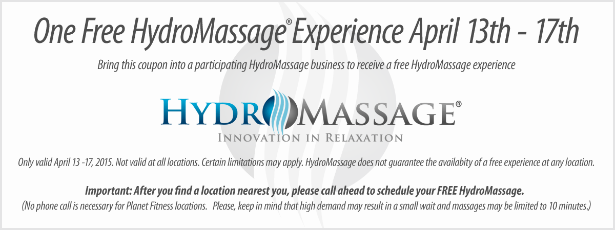 Hydromassage Coupon June 2017 Free massage 13-17th at HydroMassage