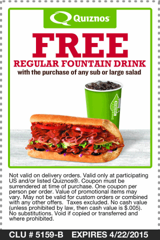 Quiznos Coupon October 2017 Free fountain drink with your sub or salad at Quiznos