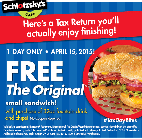 Schlotzskys Coupon September 2017 Free sandwich with your chips & drink the 15th at Schlotzskys cafe