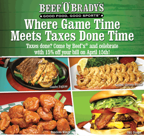 Beef OBradys Coupon December 2017 15% off Wednesday at Beef OBradys restaurants