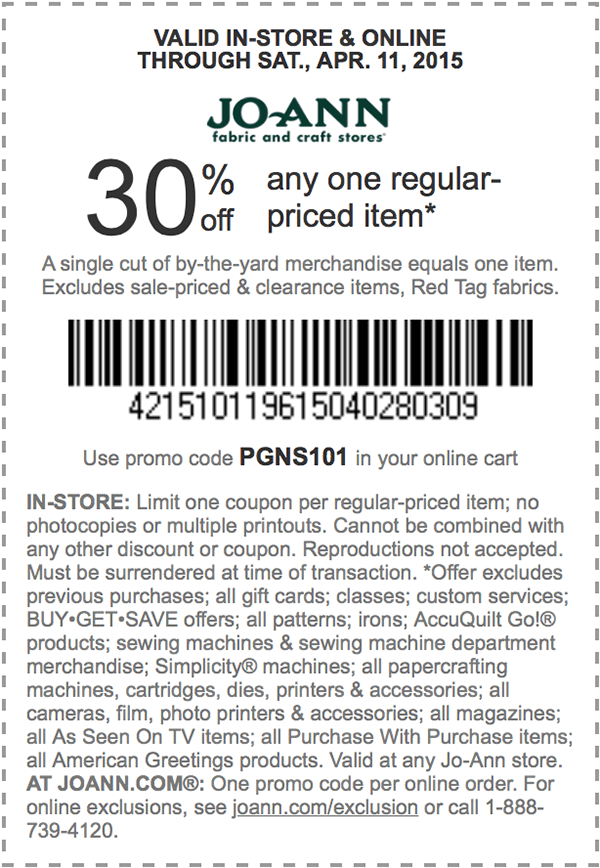Jo-Ann Coupon July 2017 30% off a single item at Jo-Ann Fabric, or online via promo code PGNS101