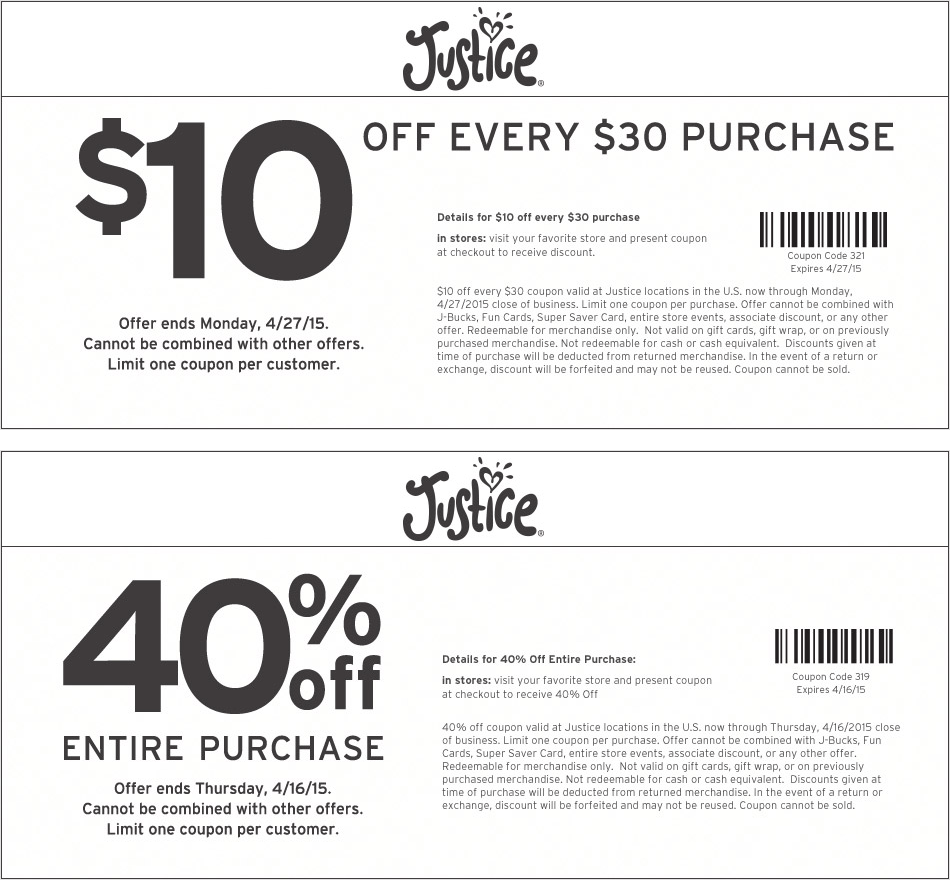 Justice Coupon March 2017 40% off everything, $10 off every $30 at Justice, or online via promo code 319