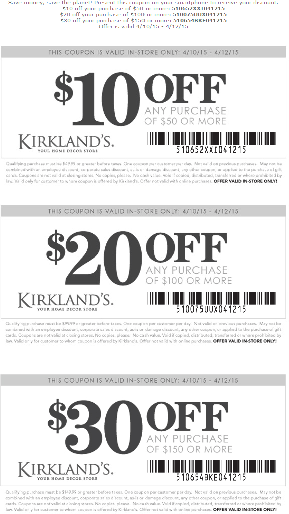 Kirklands Coupon July 2018 $10 off $50 & more at Kirklands