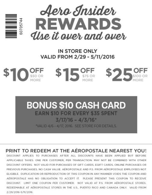 Aeropostale Coupon July 2018 $10 off $50 & more at Aeropostale