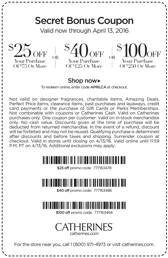Catherines Coupon October 2017 $25 off $75 & more at Catherines, or online via promo code APRILCA