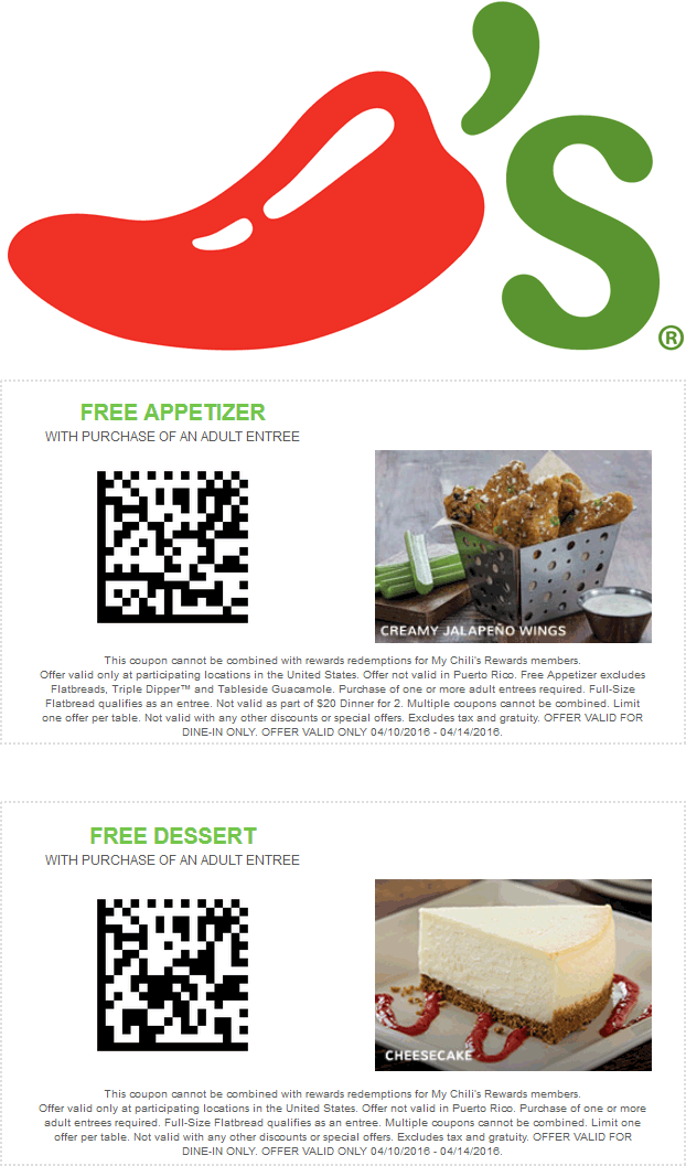 Chilis Coupon January 2018 Free appetizer or dessert with your entree at Chilis