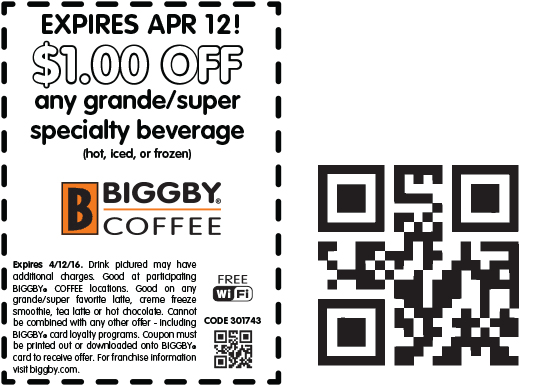 Biggby Coffee Coupon October 2016 Shave a buck off your drink at Biggby Coffee