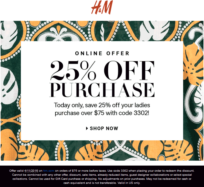 H&M Coupon October 2016 25% off $75 online today at H&M via promo code 3302