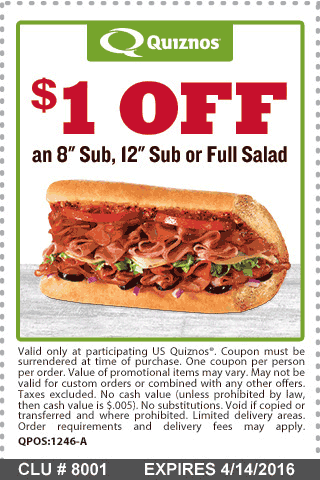 Quiznos Coupon March 2017 A buck off your sub or salad from Quiznos