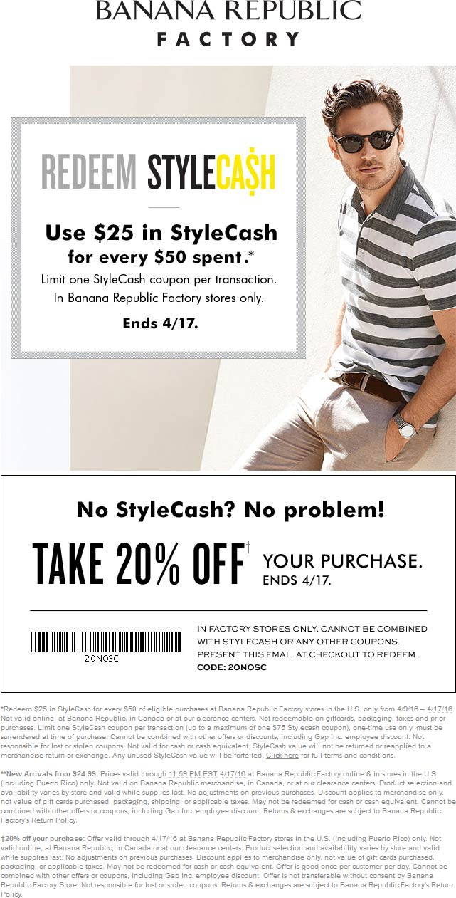 Banana Republic Factory Coupon August 2017 Extra 20% off at Banana Republic Factory locations