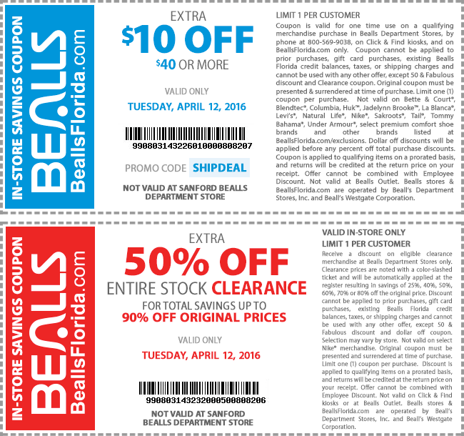 Bealls Coupon December 2018 $10 off $40 & more today at Bealls, or online via promo code SHIPDEAL