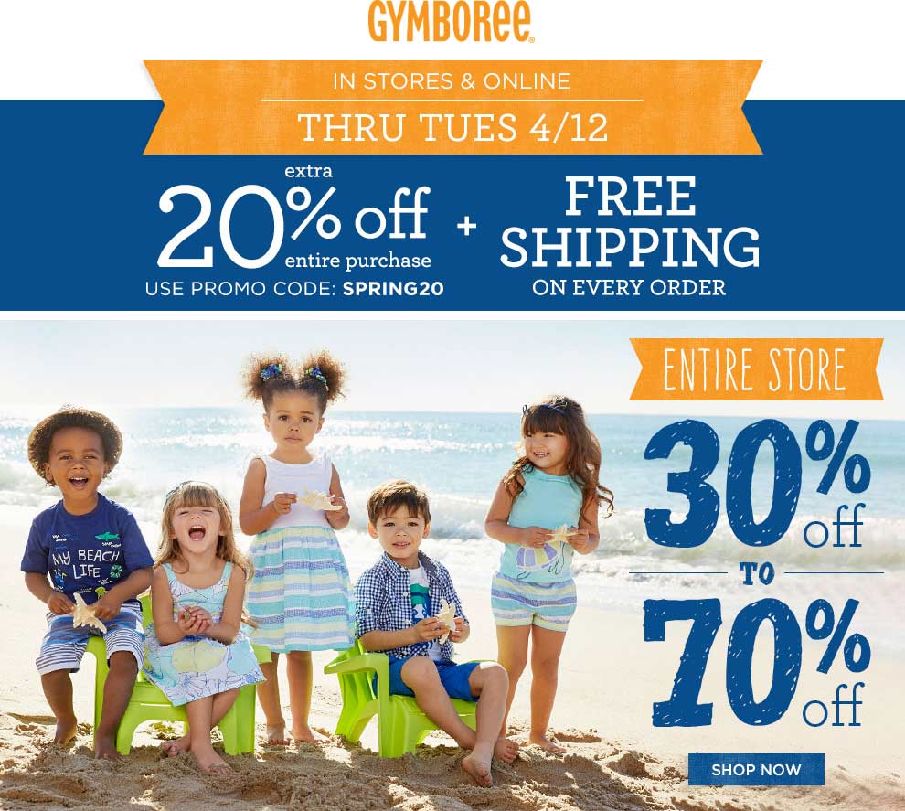 Gymboree Coupon March 2017 30% + another 20% off everything today at Gymboree, or online with free ship via promo code SPRING20