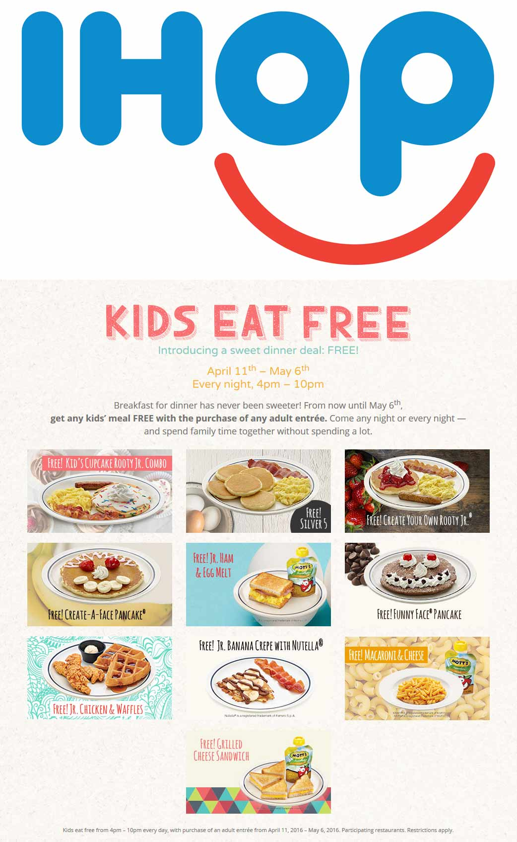 IHOP Coupon November 2017 Kids eat free with your meal 4-10pm daily at IHOP