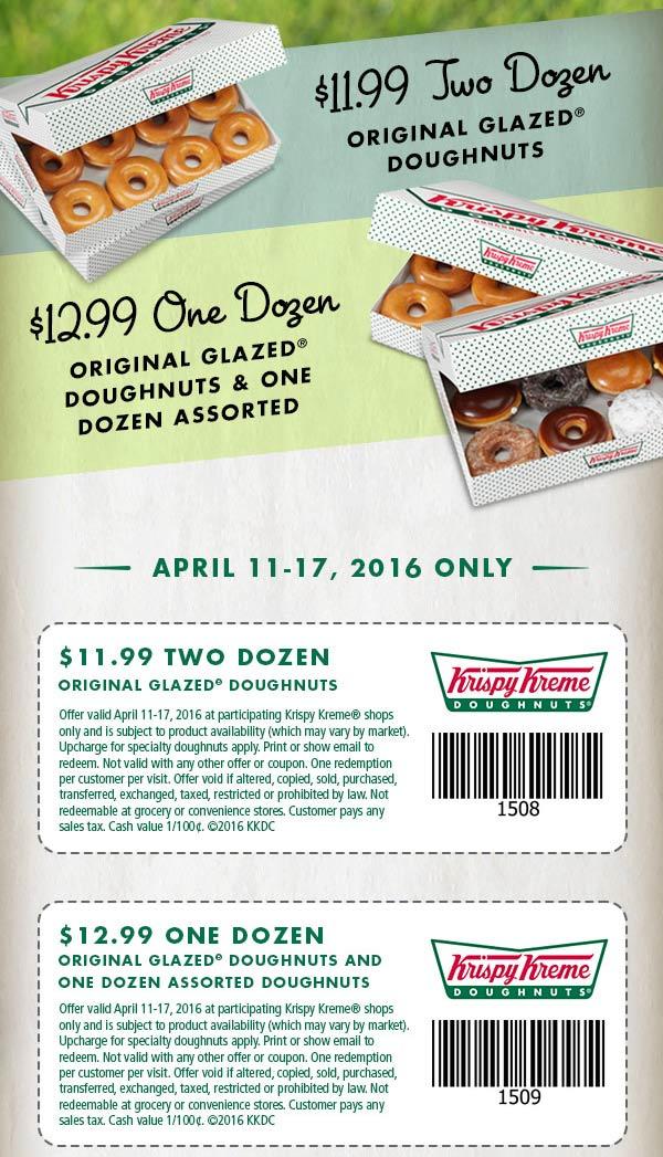 Krispy Kreme Coupon February 2017 2 dozen doughnuts for $12 at Krispy Kreme