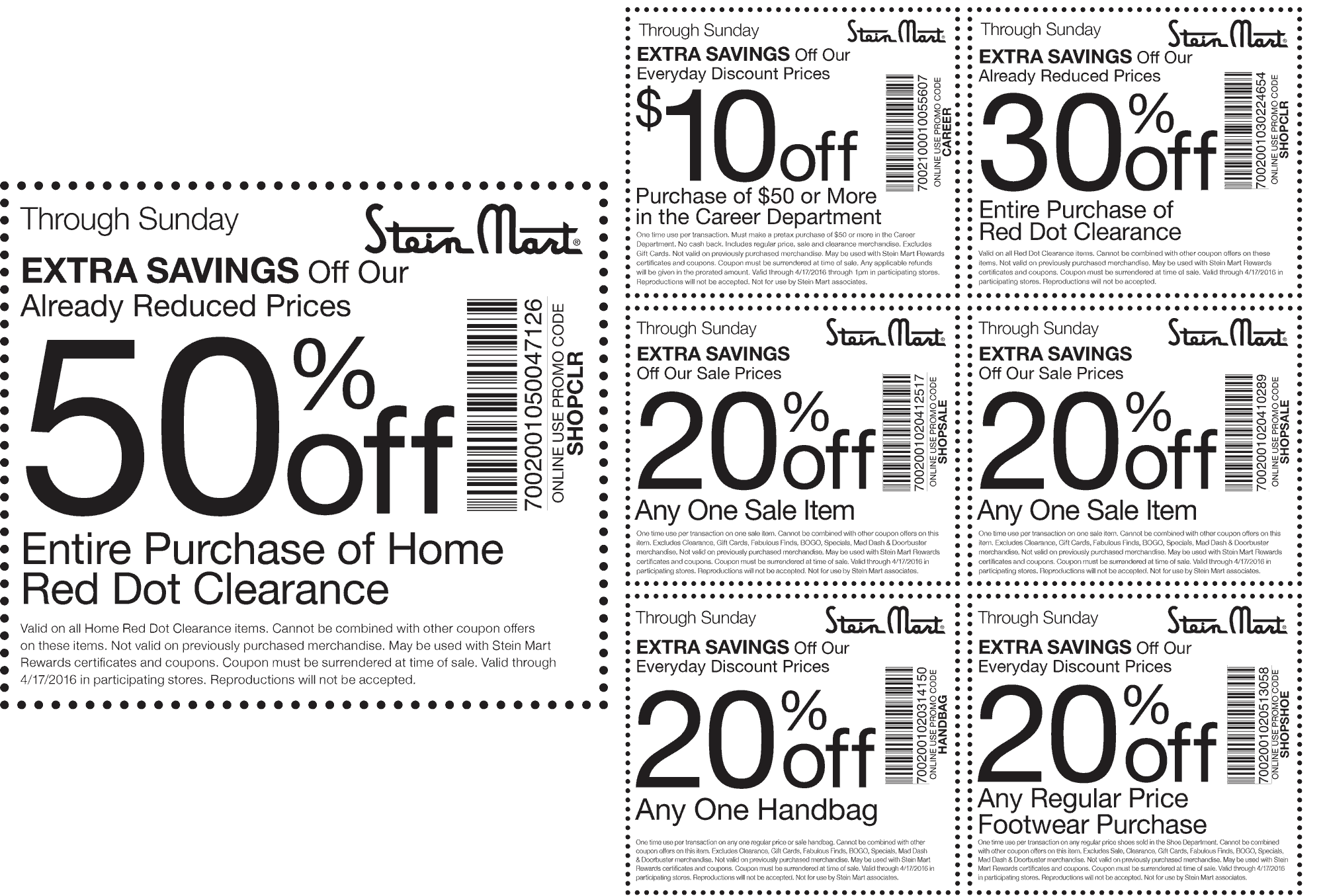 Stein Mart Coupon October 2016 50% off home clearance & more at Stein Mart, or online via promo code SHOPCLR