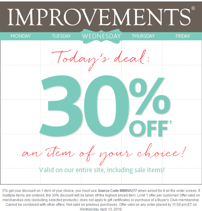 Improvements Coupon July 2018 30% off a single item online today at Improvements Catalog via promo code MM6W277 - includes sale items