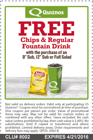 Quiznos Coupon August 2017 Chips & drink free with your sub or salad at Quiznos