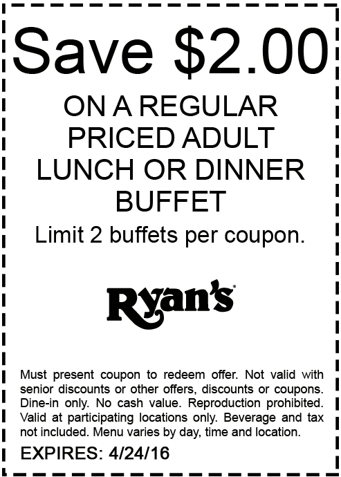 Ryans Coupon May 2017 $2 off a buffet at Ryans
