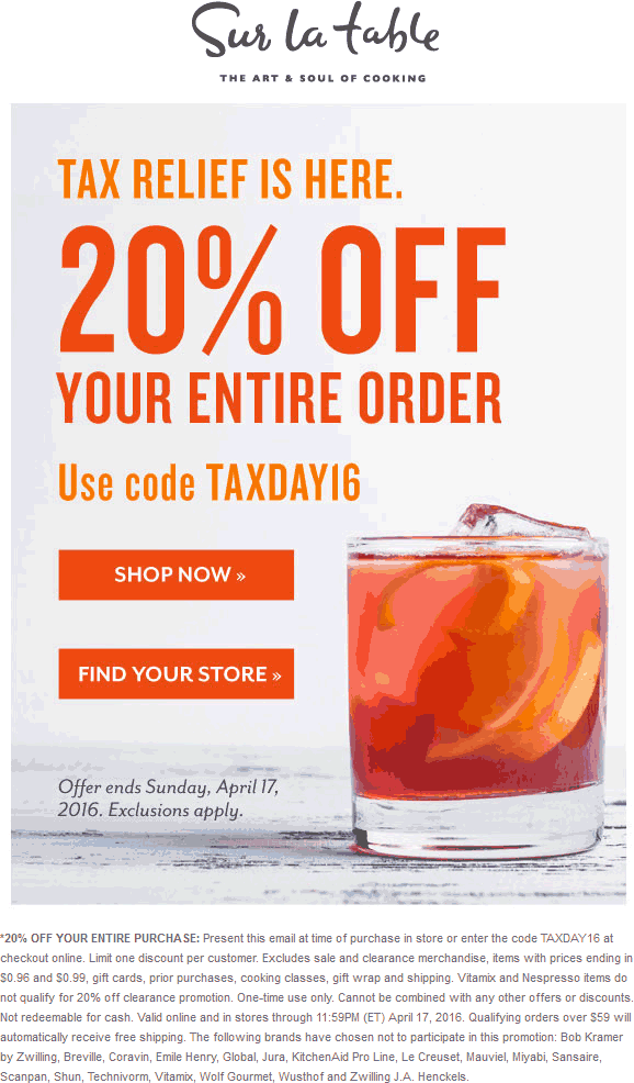Sur La Table Coupon January 2017 20% off at Sur La Table, or online via promo code TAXDAY16