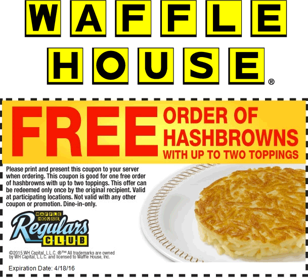 Waffle House Coupon May 2019 Free hashbrowns at Waffle House