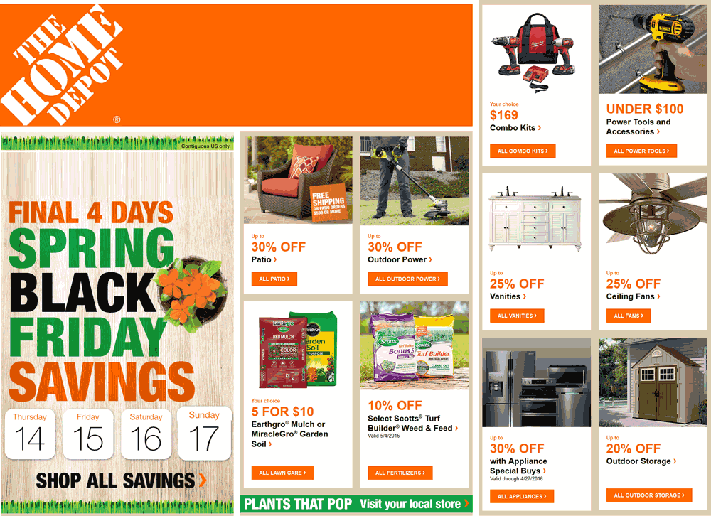 HomeDepot.com Promo Coupon 20-30% off spring seasonal & more at Home Depot