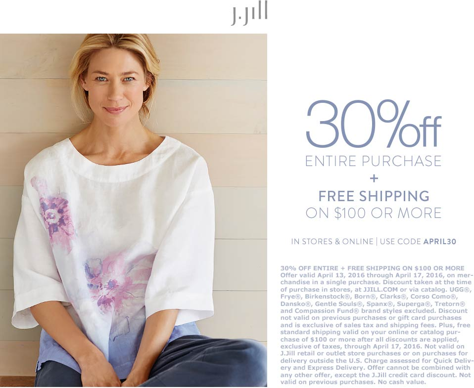 J.Jill Coupon February 2019 30% off everything at J.Jill, or online via promo code APRIL30
