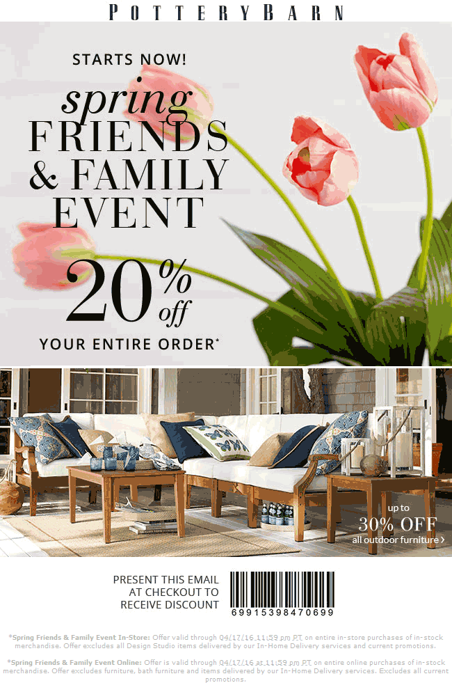 Pottery Barn Coupon April 2017 20% off at Pottery Barn, ditto online