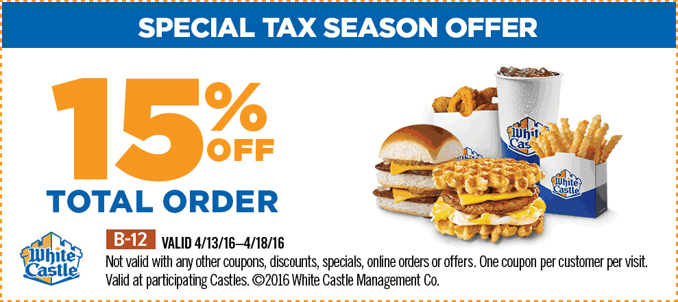 White Castle Coupon July 2018 15% off at White Castle restaurants