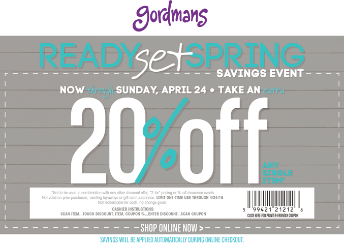 Gordmans Coupon October 2016 20% off at Gordmans, ditto online