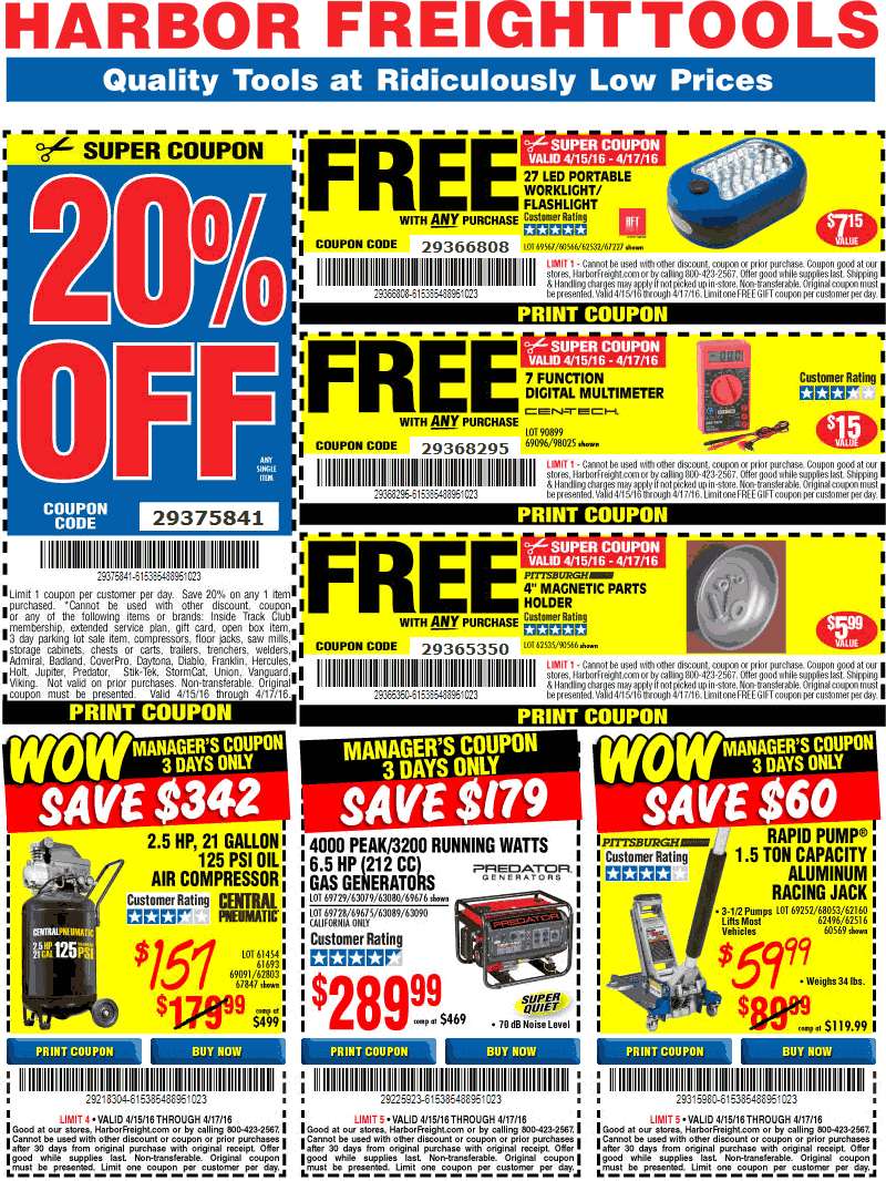 Harbor Freight Coupon January 2018 20% off a single item & more at Harbor Freight Tools, or online via promo code 29375841