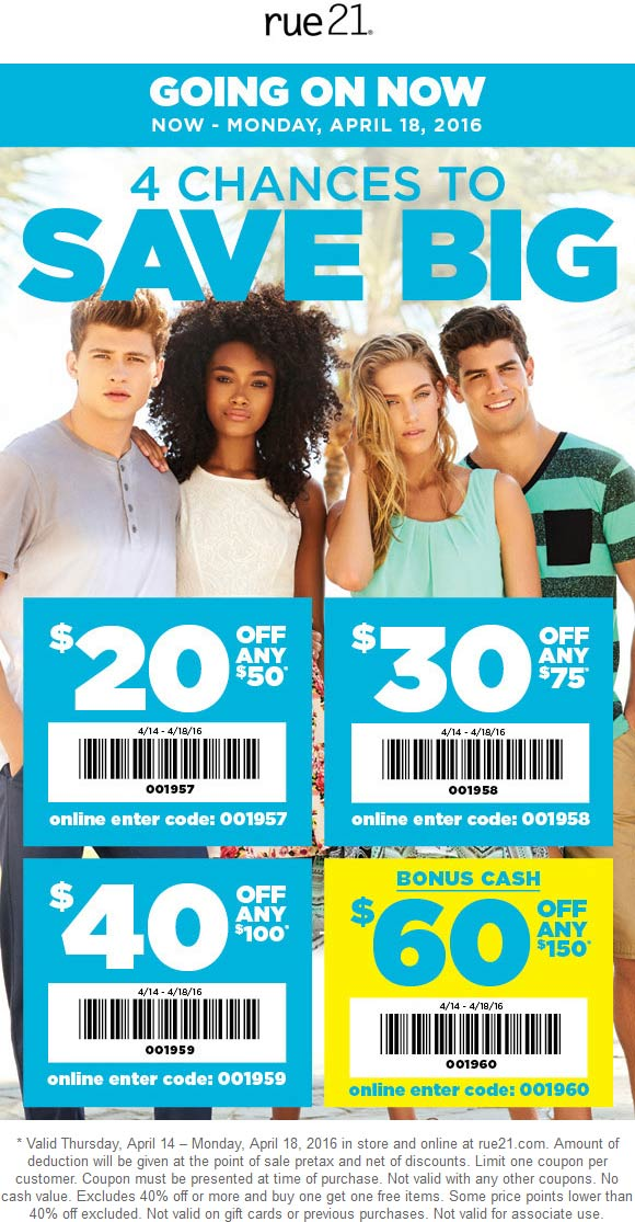 Rue21 Coupon January 2018 $20 off $50 & more at rue21, or online via promo code 001957